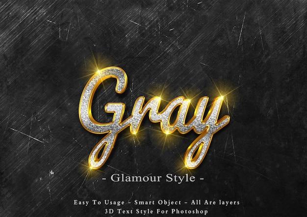 Efeito de estilo de texto de glamour cinza 3d