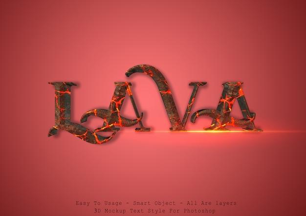 Efeito de estilo de texto de lava 3d