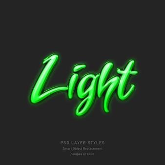 Efeito de estilo de texto de luz verde psd