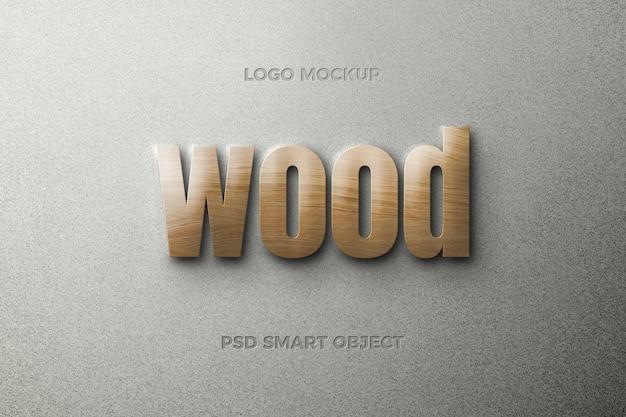Efeito de estilo de texto de madeira com design de modelo de texto
