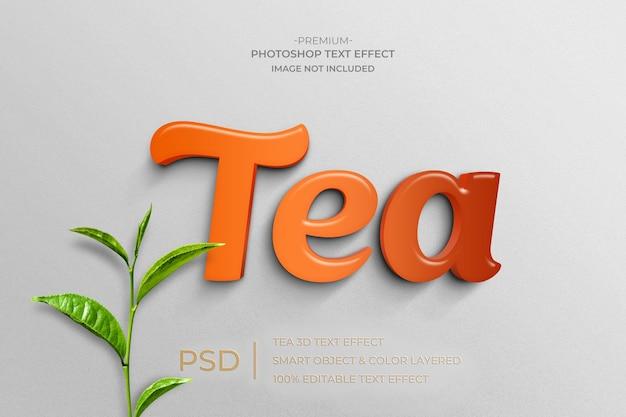 Efeito de estilo de texto de maquete 3d tea