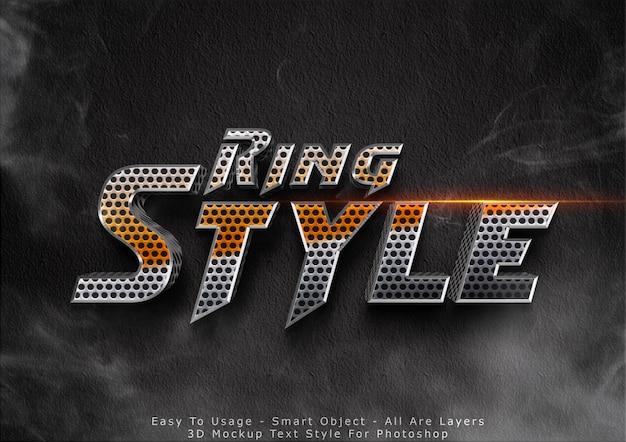 Efeito de estilo de texto de maquete de anel 3d