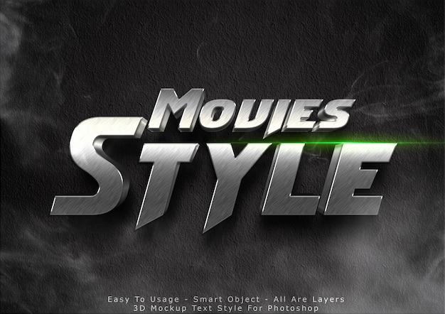 Efeito de estilo de texto de maquete de filmes em 3d