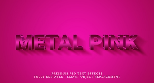 Efeito de estilo de texto de metal rosa, efeitos de texto