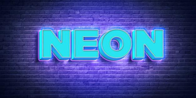 Efeito de estilo de texto de néon azul 3d