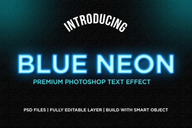 Efeito de estilo de texto de néon azul