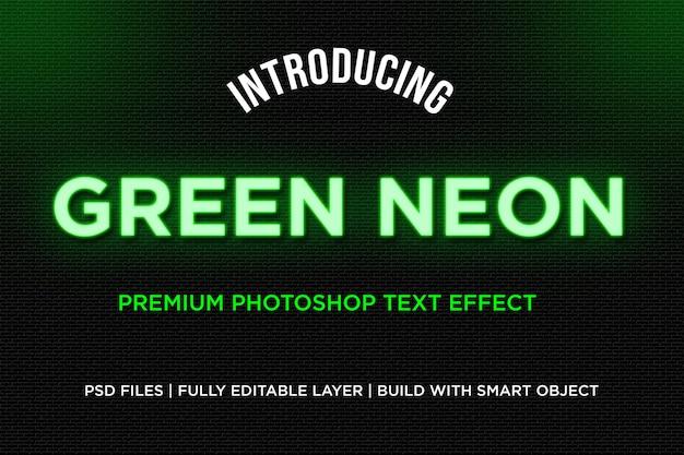 Efeito de estilo de texto de néon verde