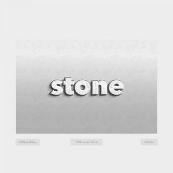 Efeito de estilo de texto de pedra 3d com parede