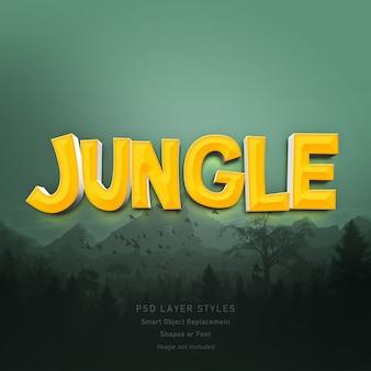 Efeito de estilo de texto de selva 3d para fonte