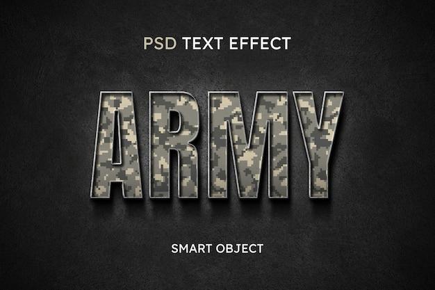Efeito de estilo de texto do exército