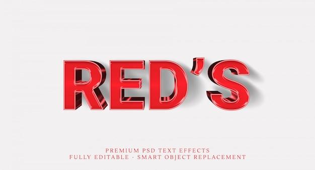 Efeito de estilo de texto do vermelho