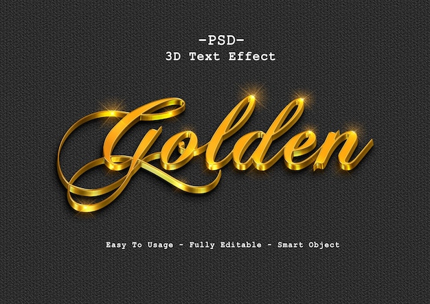 Efeito de estilo de texto dourado 3d