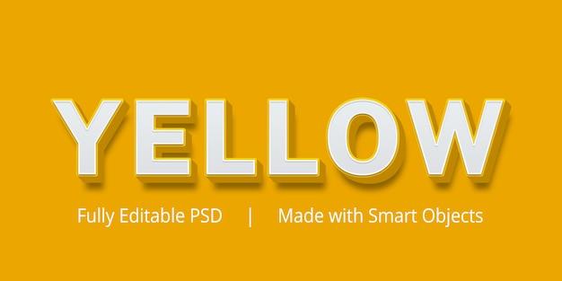 Efeito de estilo de texto editável amarelo