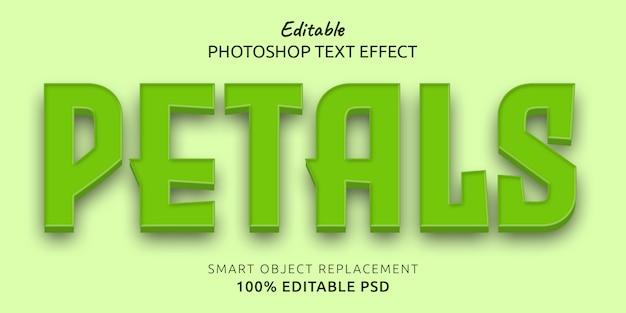 Efeito de estilo de texto editável de pétalas