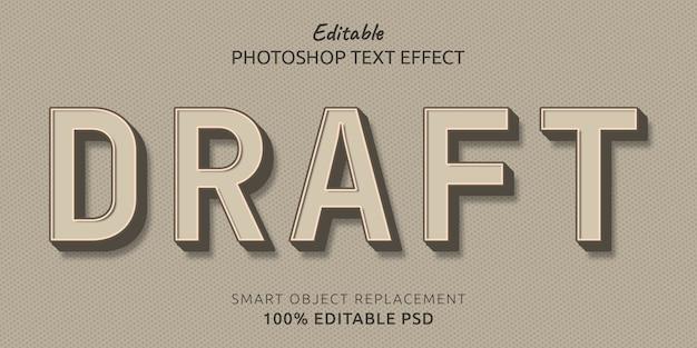 Efeito de estilo de texto editável de rascunho