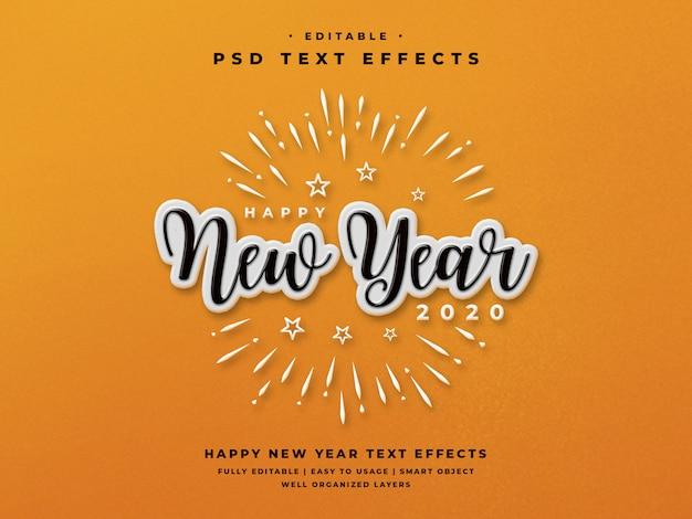 Efeito de estilo de texto editável feliz ano novo 2020