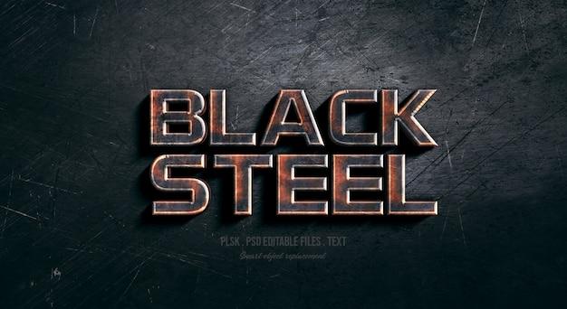 Efeito de estilo de texto em aço preto 3d
