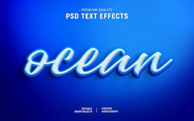 Efeito de estilo de texto em camadas de cor do oceano