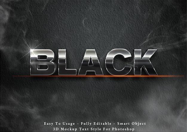Efeito de estilo de texto em metal preto 3d