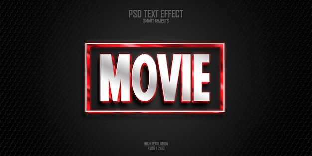 Efeito de estilo de texto em negrito de filme moderno 3d