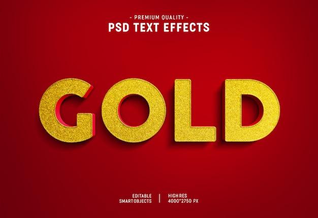 Efeito de estilo de texto em ouro vermelho