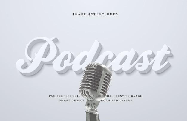 Efeito de estilo de texto em podcast 3d