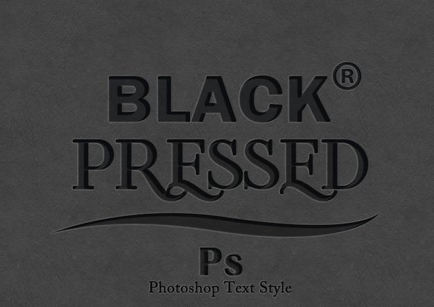 Efeito de estilo de texto em preto 3d