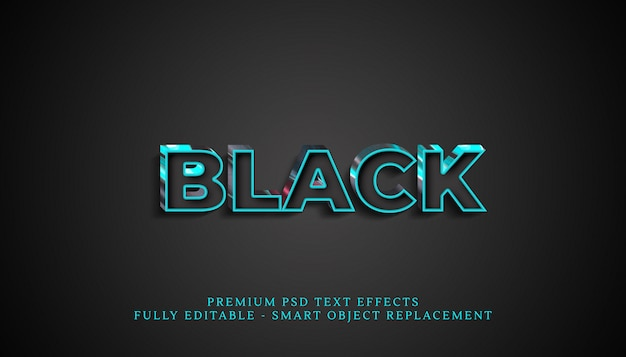 Efeito de estilo de texto em preto, efeitos de texto premium