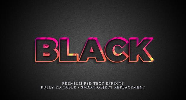 Efeito de estilo de texto em preto, efeitos de texto