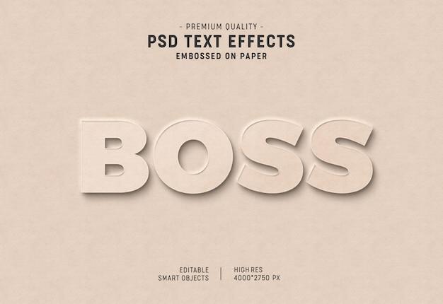 Efeito de estilo de texto em relevo no papel