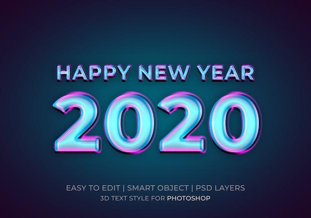 Efeito de estilo de texto feliz ano novo 2020 de néon