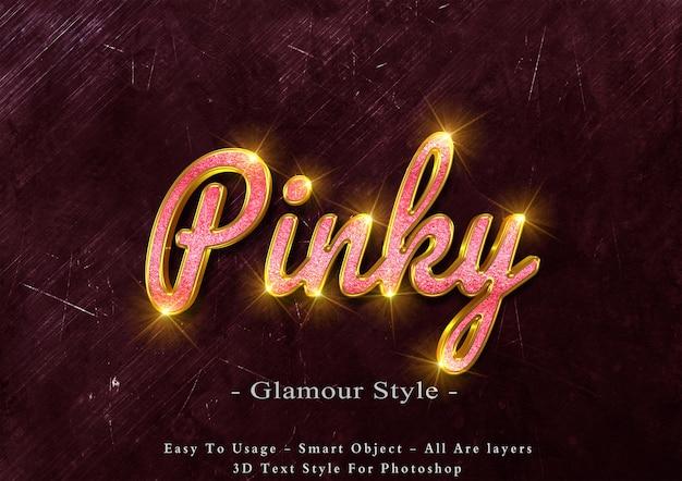 Efeito de estilo de texto glamour rosa 3d