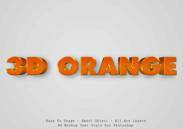 Efeito de estilo de texto laranja 3d