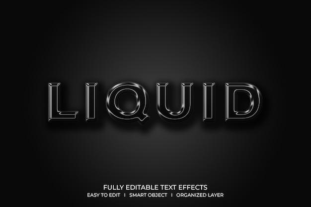 Efeito de estilo de texto líquido 3d