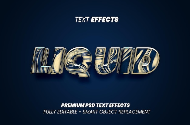 Efeito de estilo de texto líquido premium psd