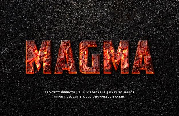 Efeito de estilo de texto magma 3d