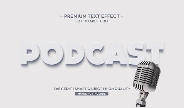 Efeito de estilo de texto podcast 3d