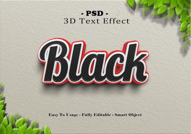 Efeito de estilo de texto preto 3d