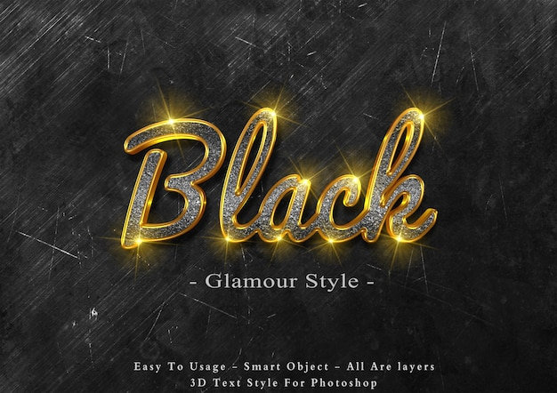 Efeito de estilo de texto preto glamour 3d