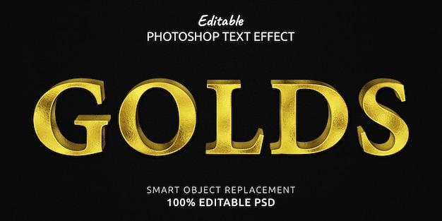 Efeito de estilo de texto psd editável golds