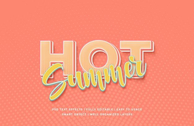 Efeito de estilo de texto quente de verão 3d