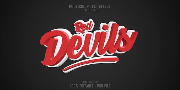 Efeito de estilo de texto red devils 3d
