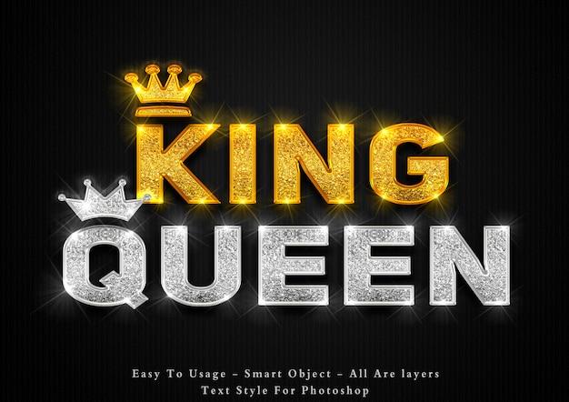 Efeito de estilo de texto rei do ouro e rainha da prata