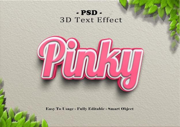 Efeito de estilo de texto rosa 3d