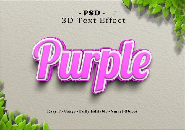 Efeito de estilo de texto roxo 3d