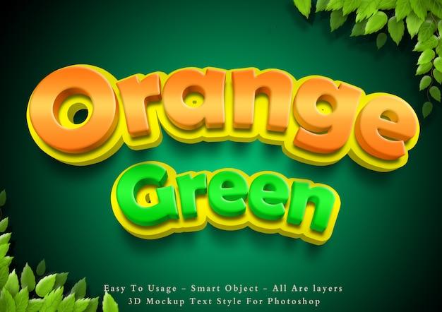 Efeito de estilo de texto verde e laranja de desenho animado 3d