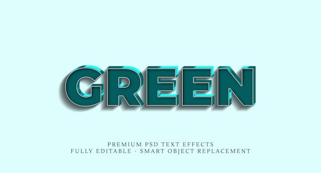 Efeito de estilo de texto verde, efeitos de texto premium