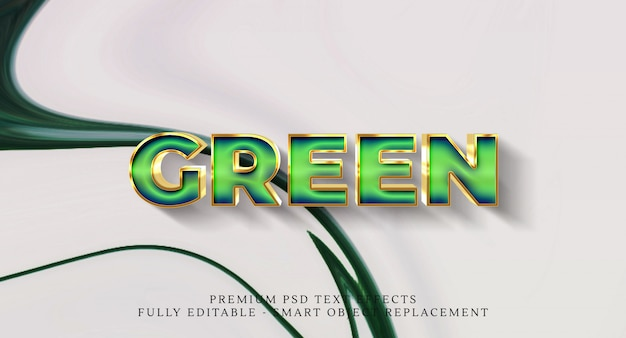 Efeito de estilo de texto verde psd, efeitos de texto psd