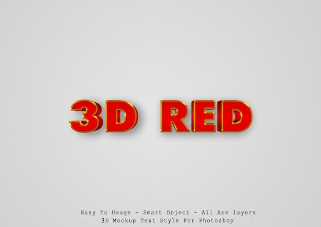 Efeito de estilo de texto vermelho 3d