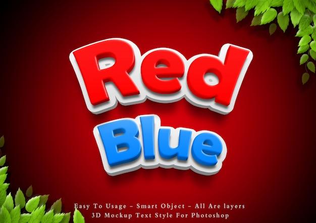 Efeito de estilo de texto vermelho e azul 3d